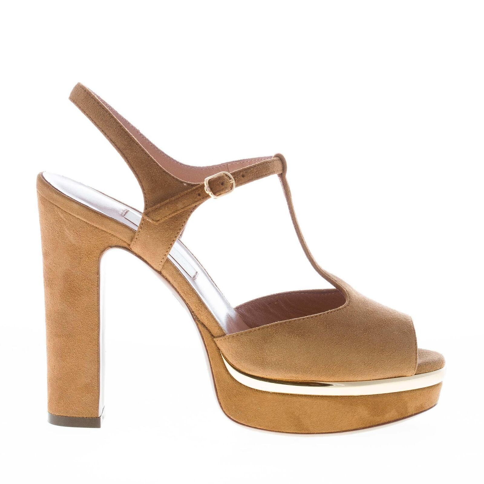 L'AUTRE CHOSE women's shoes shoes Camel Suede T-Strap Sandal with gold-Tone Metal