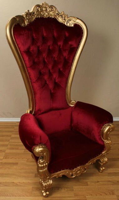 Carved Mahogany Louis XV Beregere Armchair Regal Throne Chair Gold Red Velvet