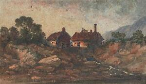 LEXDEN-LEWIS-POCOCK-Watercolour-Painting-COTTAGES-IN-LANDSCAPE-c1880
