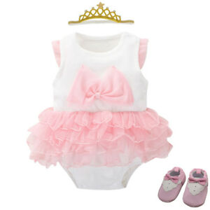 Infant baby girl party wedding bodysuit+crown+socks+shoes baby dress shower gift