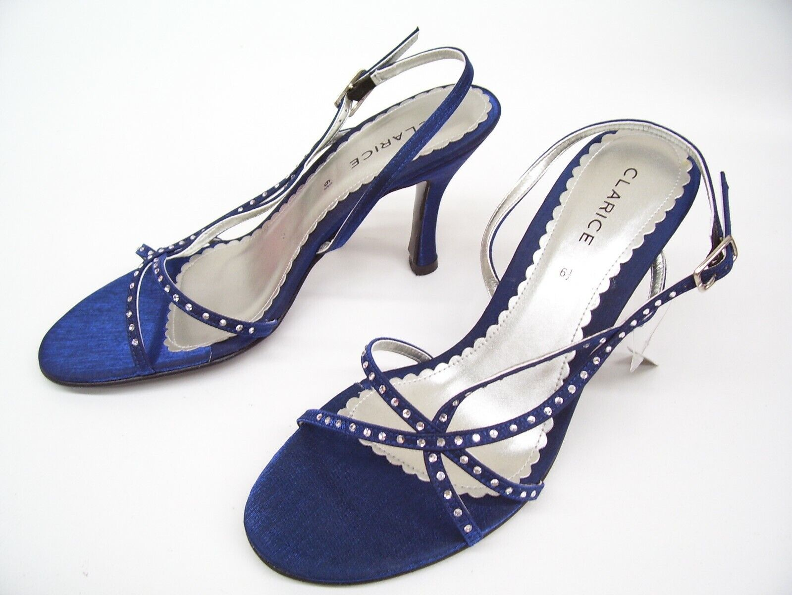 CLARICE NAVY SATIN LADIES FORMAL DRESS HEELS SHOES WEDDING PARTY BUDDY SIZE 6.5