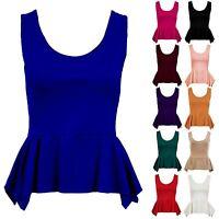 Women's Frill Shift Sleeveless Stretch Peplum Bodycon Zip Ladies Top