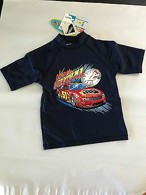 BNWT Boys Sz 5 Navy Race Car Logo Sun Star Brand Short Sleeve Rash Vest UPF50+