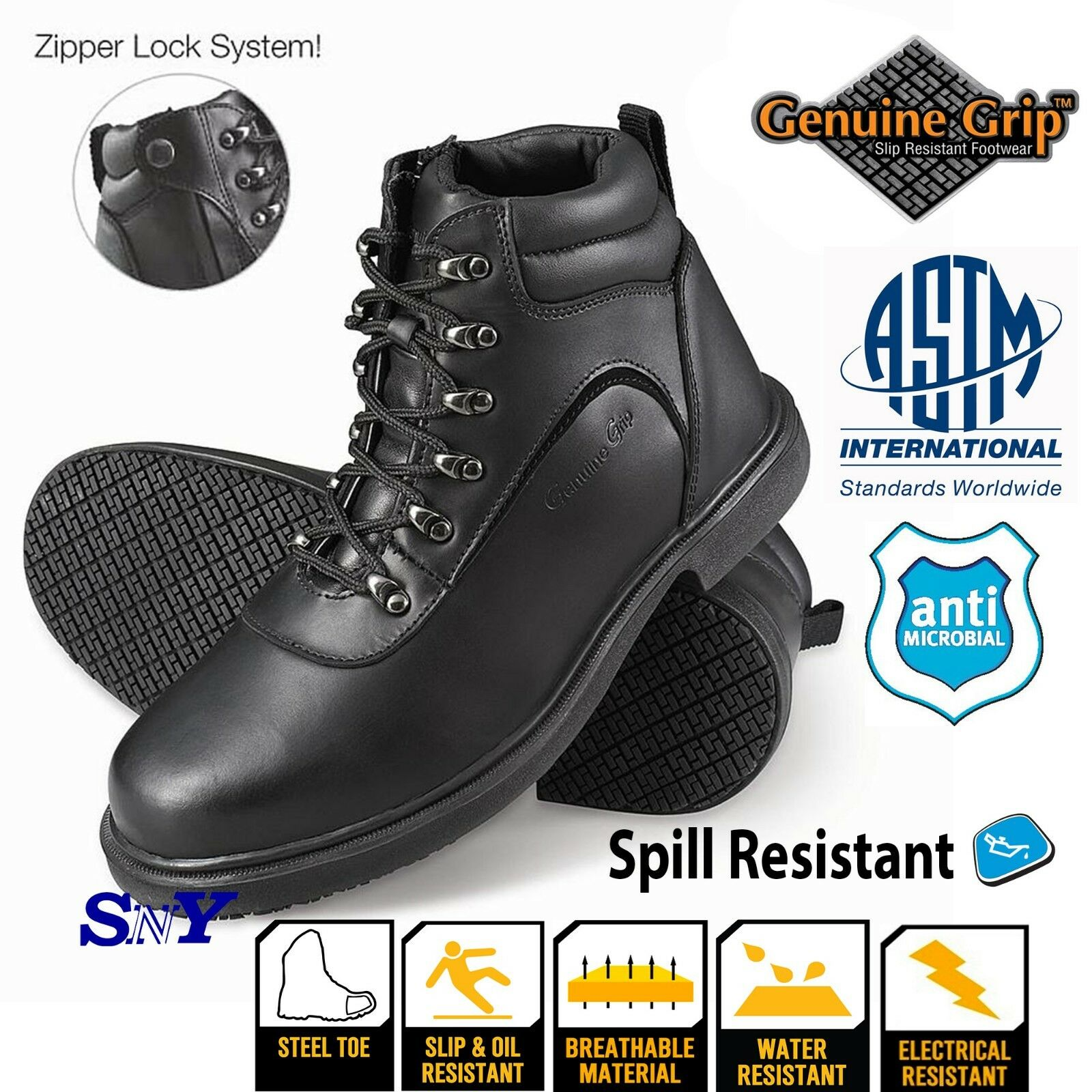 Slip Spill Resistant Steel Toe Electrical Hazard ASTM EH Rated Antimicrobial