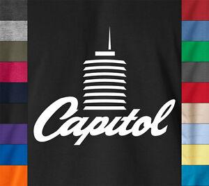 Capitol-Torre-Camiseta-grabar-musica-etiqueta-con-logotipo-de-Vintage-Retro-soul-Boogie-Rock-Tee