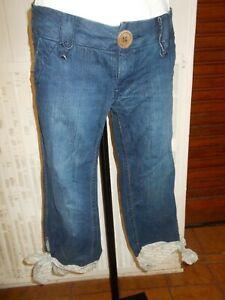 Pantalon-court-pantacourt-Taille-basse-revers-tissu-PEPE-JEANS-w29-38-40-18ao2