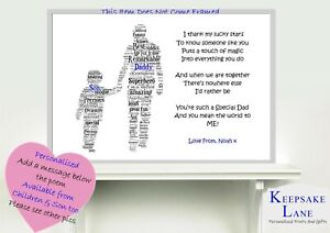 Personalised Fathers Birthday Gift Day Dad Daddy Grandad Present For Him A4 Poem