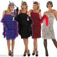 Ladies Black Red 1920s 30s Flapper Fancy Dress Costume Outfit UK 8-30 Plus Size