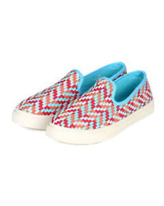 New Women Misbehave Armin-4 Canvas Fabric Multi Color Plaid Flat Sneaker Sz