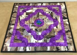 Patchwork-Quilt-Wall-Hanging-Drunkards-Path-Contemporary-Prints-Purple-Brown