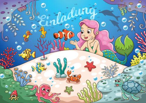 Meerjungfrauen-Einladungskarten für Kindergeburtstag, Mädchen Geburtstag