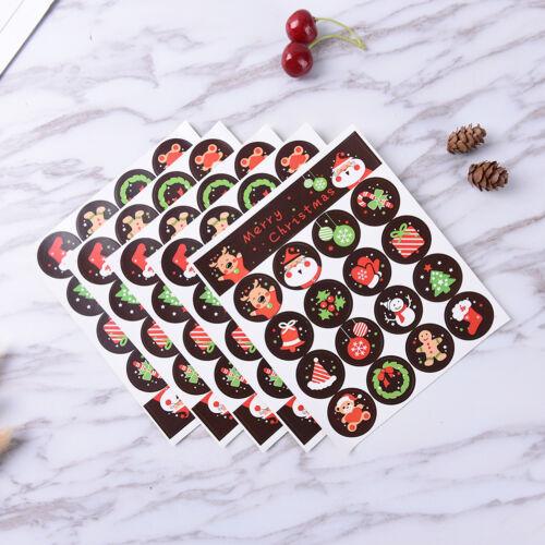 80 un.//5 Hoja Feliz Navidad Adhesivo Pegatinas de envoltura de sello de envolvente Insignia R