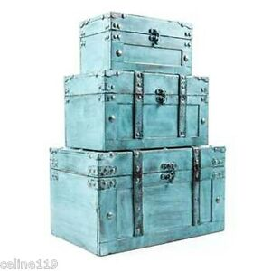 Image Is Loading Rustic Country Turquoise Distressed Wood Storage Trunk SET