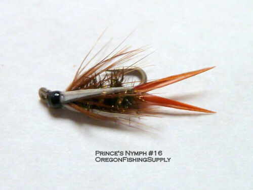 FREE shipping on All Additional items! 6 fly in container Prince Nymph #16