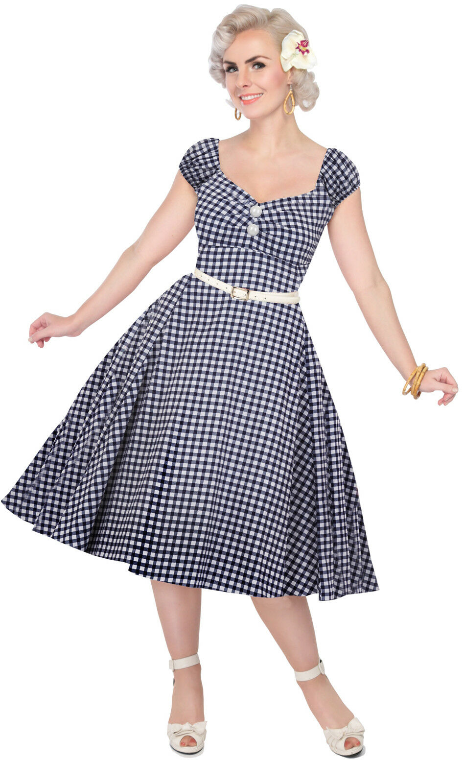 Collectif Dolores Pepita a Gingham Doll Vintage Pin Up Swing Vestito Rockabilly