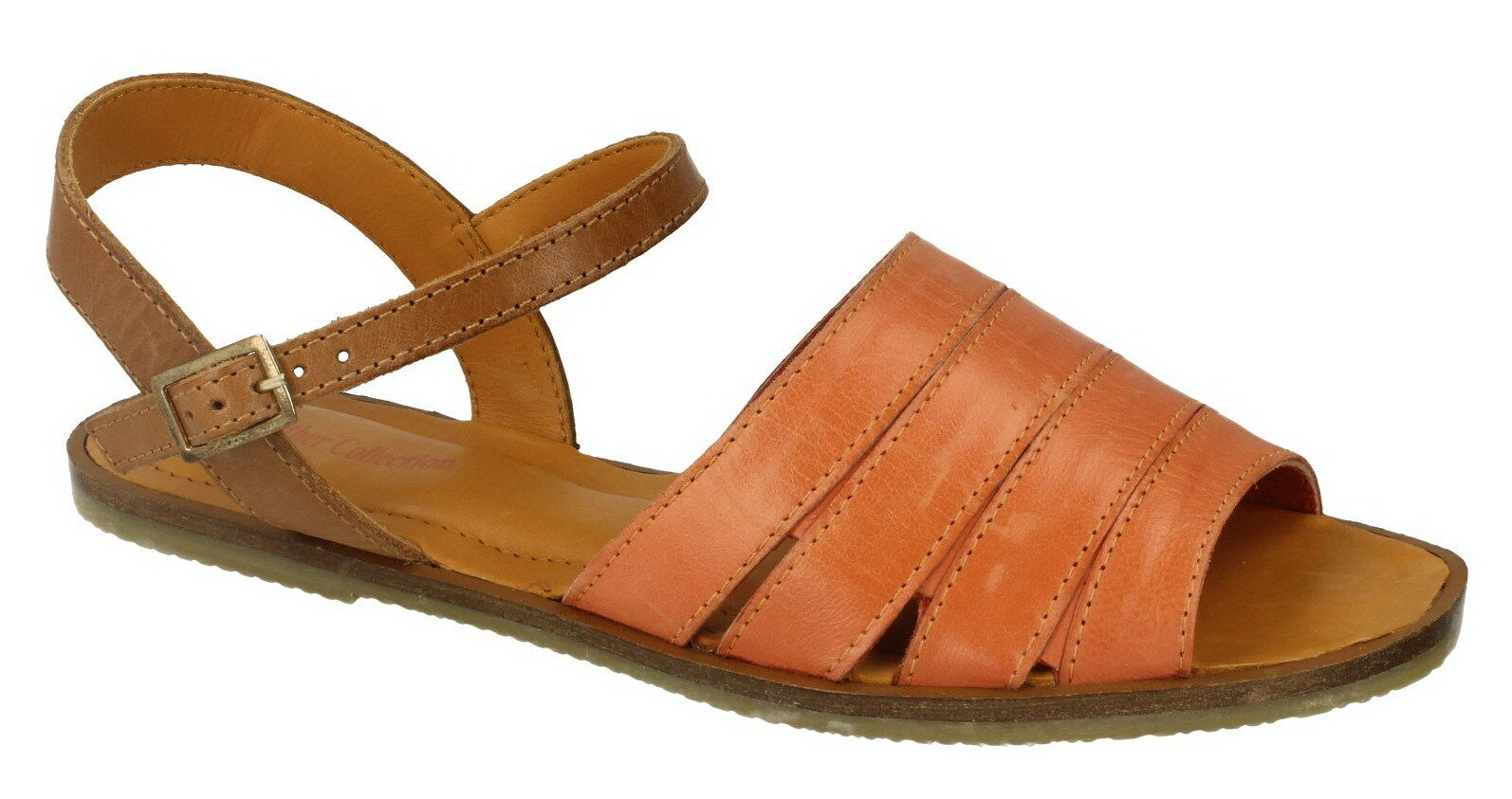 *Spot On* Leather Buckle Collection F0933 Orange Leather Buckle Leather Fastened Summer Sandals d6b26a