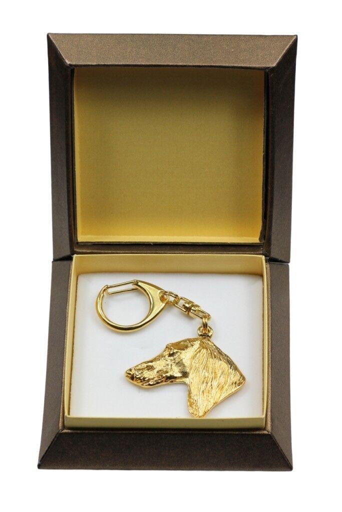 Saluki - oro covered keyring with dog, box, high quality, Art Dog