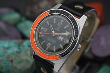 Vintage ELGIN Automatic 25j M-135 Steel Skin Diver Bakelite Orange Bezel Watch