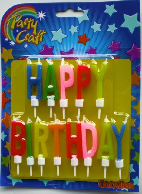 Coloured Happy Birthday Cake Candles with Picks