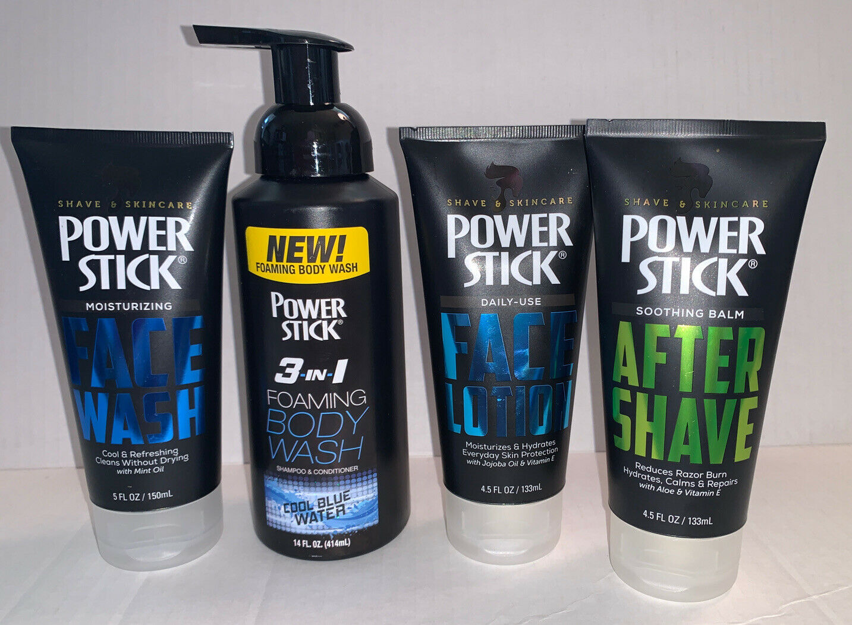 Lot of Men's Power Stick Set: After Shave, Face Wash, Face Lotion & Foaming Wash