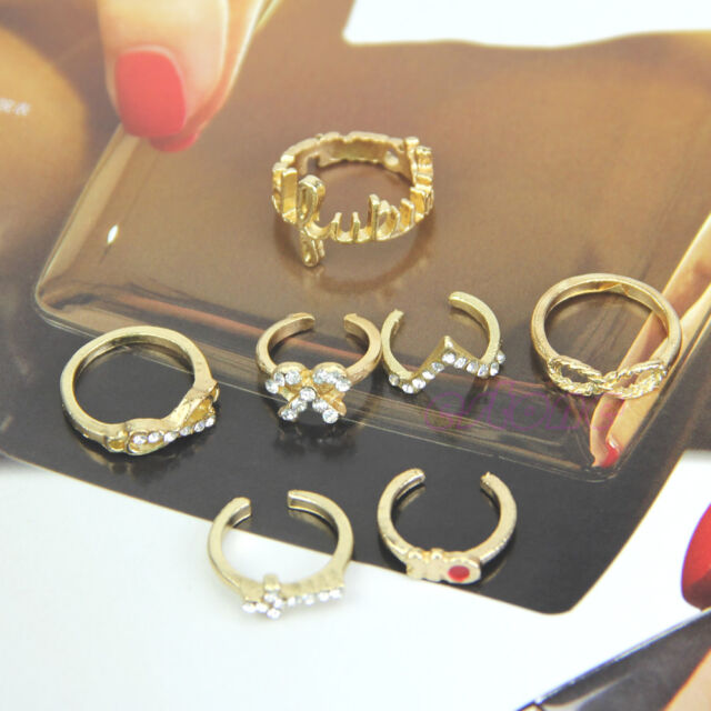 Rings Urban Gold stack Crystal Cute Above Knuckle Ring Band Midi Ring 7PCS/Set