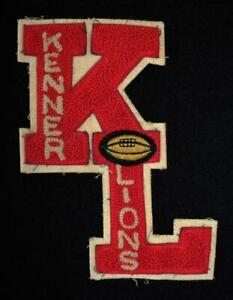 """VINTAGE 1960'S-1970'S SCHOOL FOOTBALL LETTERS RED AND WHITE PATCH 5"""" X 7"""""""
