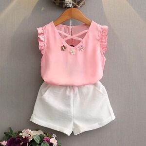 US Fashion Toddler Kid Baby Girl Short Sleeve Tops Shorts Pants Clothes 2Pcs Set