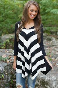 Maglia-maglietta-scollo-aperta-aderente-Svasata-T-shirt-Stripes-Blouse-Top