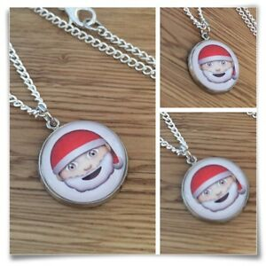 Emoji face Santa Christmas Charm pendant necklace txt geek