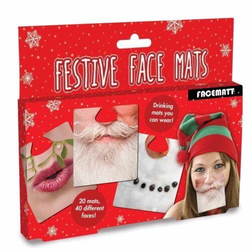 CHRISTMAS FACE MATS BEER  20 DOUBLE SIDED FUNNY COASTER DRINKS MATS SECRET SANTA