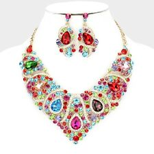 LUXE Whimsical Gold Multi Crystal Cocktail Necklace Set By Rocks Boutique