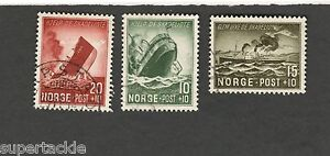 1944 Norway SCOTT #B35-37 SHIPS Θ used stamp set