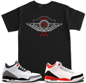 4be7efcd1ebdb Retro 3 Red T Shirt to match with Air Jordan Retro 3 White Black ...