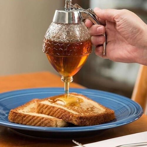 200ML Transparent Honey Drip Dispenser Kitchen Juice Syrup Container Jar Pot