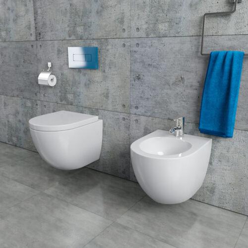 Randloses Design Hänge-WC Bidet spülrandlos kurze Ausführung 48cm KB76-1-M-SET