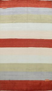 Contemporary-Striped-Gabbeh-Oriental-Area-Rug-Living-Room-Hand-knotted-Wool-7x10