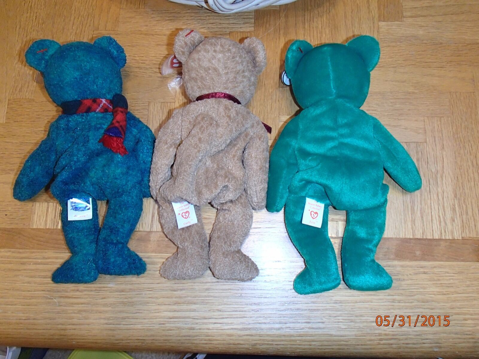 TY   Curly   Wallace  & & &  Erin  Beanie Babies Lot fb0870