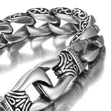 Mens 316l Stainless Steel Bracelet Solid Cuban Curb Link Wrist Bangle Silver