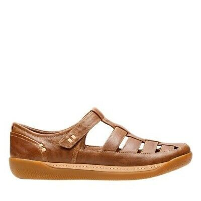 Clarks UNSTRUCTURED UN HAVEN Cove Dark Tan Leather Closed Toe Sandals UK 5 E
