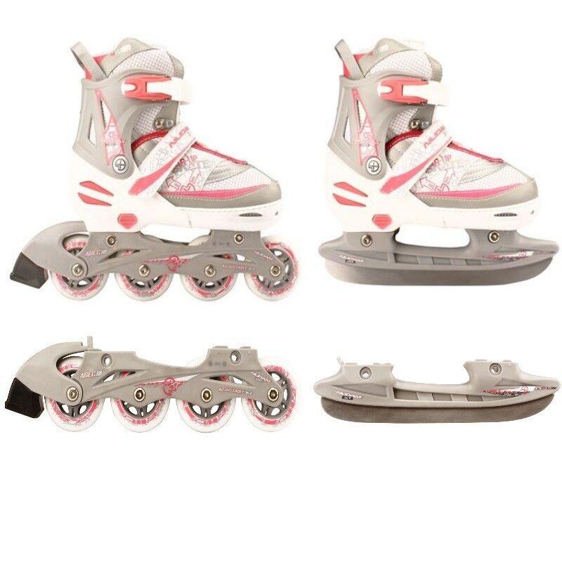 Kinder Inliner und Schlittschuhe 2 in 1 Größe verstellbar 27-30 weiß/Rosa Skater