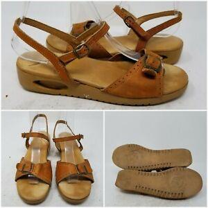 The Original YOYO Brown Ankle Strap Flat Heel Open Toe Sandal Women's Size 8.5