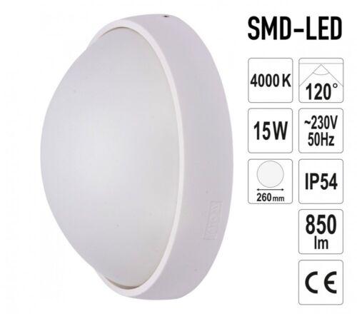 Aussen-Wandleuchte LED  Effektleuchte Wandlampe 15W Weiss Kreisrund Ø 260x110 mm