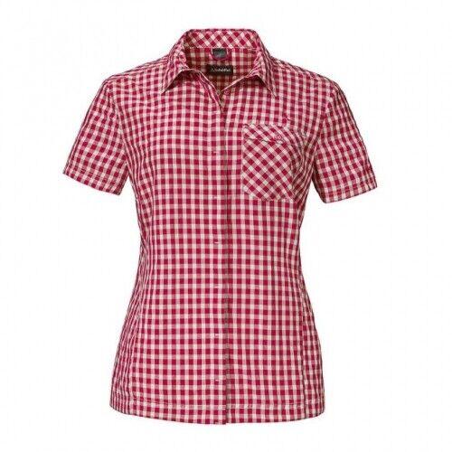 Schöffel Lago di Garda2 Damen Kurzarmbluse Damen rot Outdoor Hemd Outdoorhemd