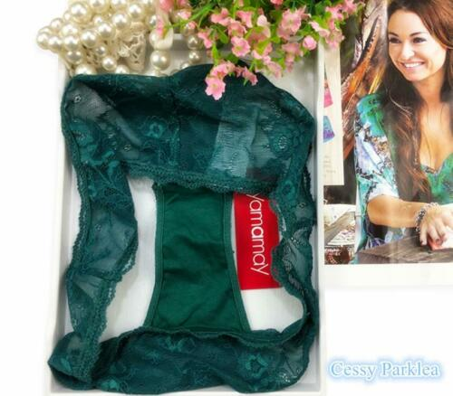 """B3-1 Italy /""""Yamamay/"""" Leaf Green See-Through Lace Brazilian Briefs Hipster"""
