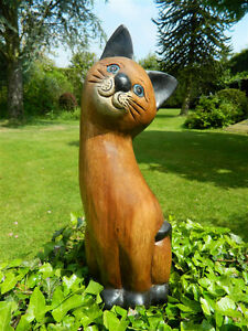 Wooden-Cat-Carving-Large-Sitting-Cat-25cm-Head-on-Side