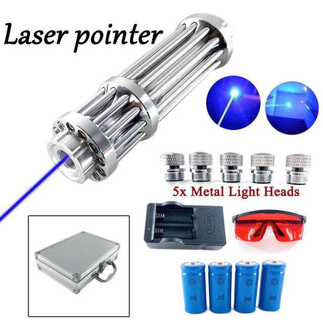 Blue-Purple Beam Laser Pointer Pen Pro 1MW 532nm Lazer+Battery 5 Star Caps Box