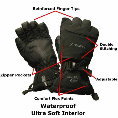 New Head Outlast Waterproof Ski Snowboard Gloves with heat pack pocket Size L