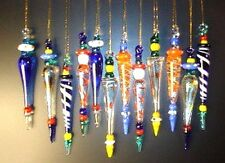 Lot 24 Blown Art Glass Icicles Christmas tree Ornament Murano Prism decoration