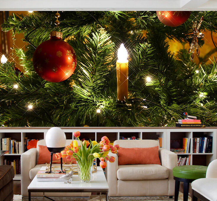 3D Christmas tree ball Wall Paper wall Print Decal Wall Deco Wall Indoor Murals