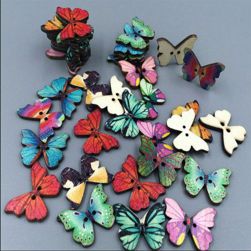 50pcs Round 2 Holes Butterfly Wooden Sewing Buttons For Scrapbooking Crafts